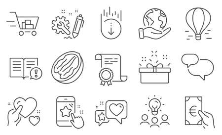 Set of Business icons, such as Chat message, Scroll down. Diploma, ideas, save planet. Present box, Star rating, Pecan nut. Heart, Engineering, Facts. Finance, Shopping cart, Hold heart. Vector Illustration