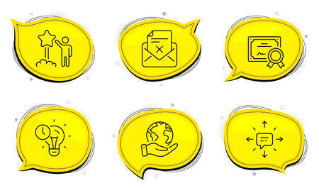 Sms sign. Diploma certificate, save planet chat bubbles. Reject letter, Time management and Star line icons set. Delete mail, Idea lightbulb, Launch rating. Conversation. Technology set. Vector