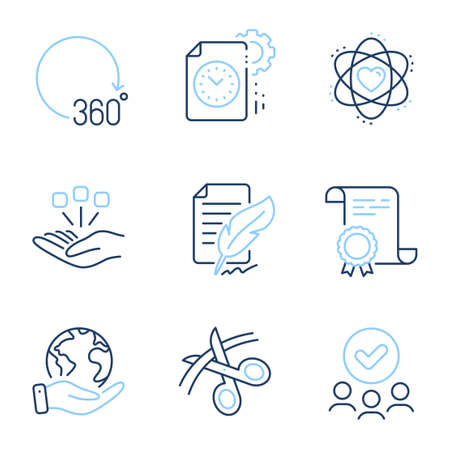 Scissors, Project deadline and 360 degrees line icons set. Diploma certificate, save planet, group of people. Atom, Consolidation and Feather signature signs. Vector Stock Illustratie