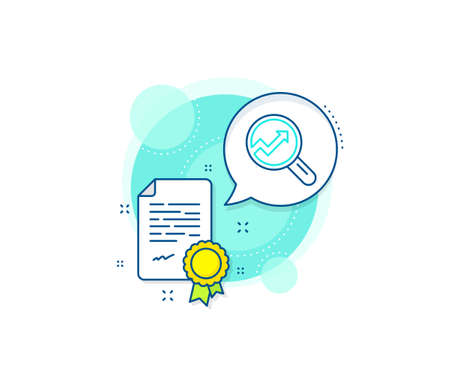 Report graph or Sales growth sign in Magnifying glass. Certification complex icon. Chart line icon. Analysis and Statistics data symbol. Certificate or diploma document. Analytics sign. Vector 向量圖像