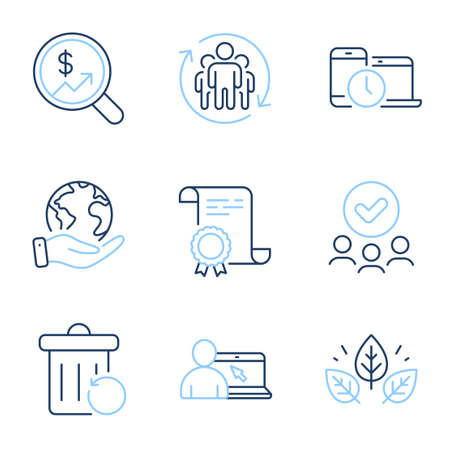 Organic tested, Teamwork and Online education line icons set. Diploma certificate, save planet, group of people. Recovery trash, Currency audit and Time management signs. Vector