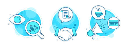 Credit card, Medical prescription and Target line icons set. Handshake deal, research and promotion complex icons. Cafe creme sign. Card payment, Medicine drugs, Targeting. Hot coffee. Vector Vectores