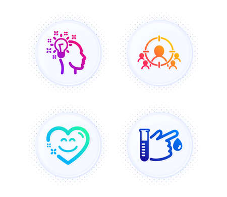 Business targeting, Idea and Smile chat icons simple set. Button with halftone dots. Blood donation sign. People and target aim, Creative designer, Heart face. Medicine analyze. People set. Vector