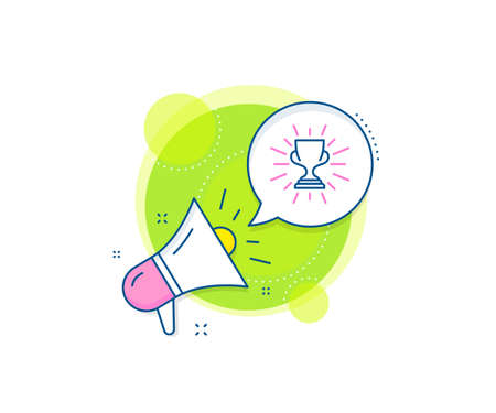 Winner Trophy symbol. Megaphone promotion complex icon. Award cup line icon. Sports achievement sign. Business marketing banner. Trophy sign. Vector Vectores