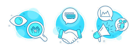 Ram, Medical tablet and Diagram line icons set. Handshake deal, research and promotion complex icons. Customer survey sign. Random-access memory, Medicine pill, Growth graph. Contract. Vector