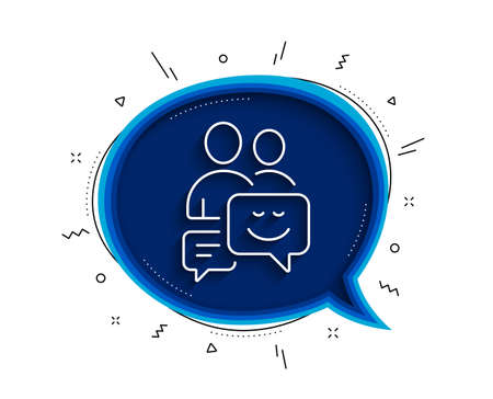 Group of Men line icon. Chat bubble with shadow. Human communication symbol. Teamwork sign. Thin line communication icon. Vector 向量圖像