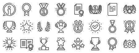 Set of Winner medal, Victory cup and Laurel wreath award icons. Award line icons. Reward, Certificate and Diploma message. Glory shield, Prize winner, rank star, diploma certificate. Vector