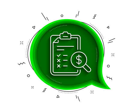 Accounting report line icon. Chat bubble with shadow. Audit sign. Check finance symbol. Thin line accounting report icon. Vector 向量圖像