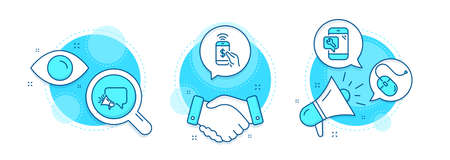 Computer mouse, Phone payment and Phone repair line icons set. Handshake deal, research and promotion complex icons. Megaphone sign. Pc device, Mobile pay, Spanner service. Brand message. Vector