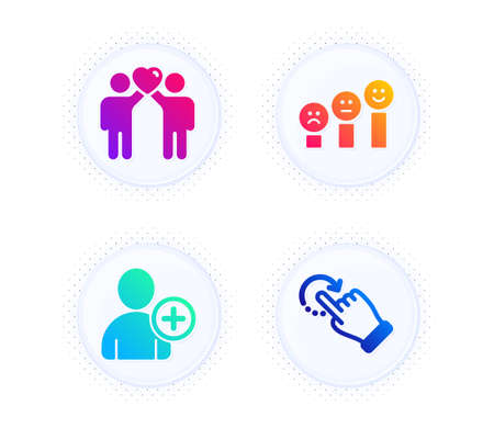 Friends couple, Add user and Customer satisfaction icons simple set. Button with halftone dots. Rotation gesture sign. Friendship, Profile settings, Happy smile chart. Undo. People set. Vector