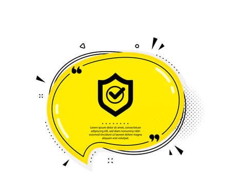 Approved shield icon. Quote speech bubble. Accepted or confirmed sign. Protection symbol. Quotation marks. Classic approved shield icon. Vector