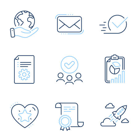 Messenger mail, Technical documentation and Report line icons set. Diploma certificate, save planet, group of people. Checkbox, Ranking star and Startup rocket signs. Vector Vectores