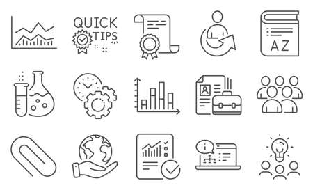Set of Education icons, such as Online documentation, Paper clip. Diploma, ideas, save planet. Vocabulary, Trade infochart, Chemistry flask. Time management, Group, Vacancy. Vector Ilustracja