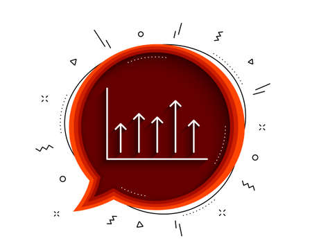 Growth chart line icon. Chat bubble with shadow. Financial graph sign. Upper Arrows symbol. Business investment. Thin line growth chart icon. Vector Illusztráció