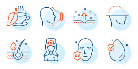 Face id, Clean skin and Oculist doctor signs. Uv protection, Serum oil and Mint tea line icons set. Vitamin e, Face scanning symbols. Ultraviolet, Healthy hairs. Medical set. Outline icons set. Vector