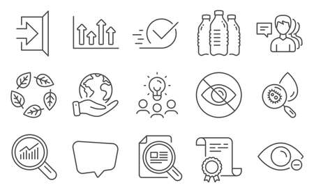 Set of Business icons, such as Water bottles, Water analysis. Diploma, ideas, save planet. People, Organic tested, Data analysis. Upper arrows, Checkbox, Exit. Vector Çizim