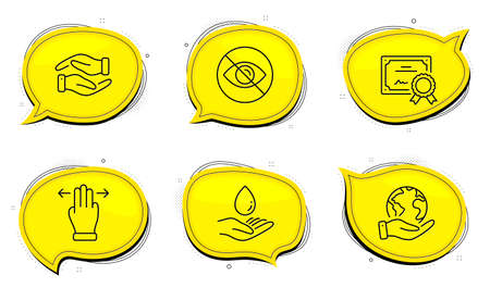 Multitasking gesture sign. Diploma certificate, save planet chat bubbles. Not looking, Water care and Helping hand line icons set. Eye care, Aqua drop, Charity palm. Swipe. People set. Vector