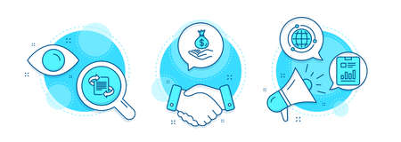 Marketing, Globe and Income money line icons set. Handshake deal, research and promotion complex icons. Report document sign. Article, Internet world, Savings. Page with charts. Education set. Vector