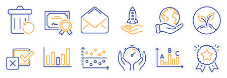 Set of Education icons, such as Ranking star, Crowdfunding. Certificate, save planet. Mail, Checkbox, Survey results. Startup, Column chart, Timer. Recovery trash, Dot plot line icons. Vector 向量圖像