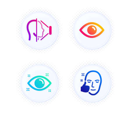 Eye, Health eye and Face id icons simple set. Button with halftone dots. Healthy face sign. View or vision, Optometry, Phone scanning. Healthy cosmetics. Medical set. Gradient flat eye icon. Vector