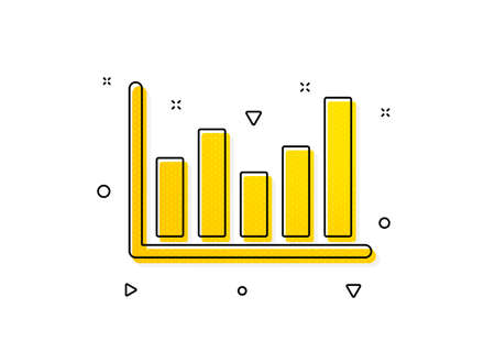 Financial graph sign. Column chart icon. Stock exchange symbol. Business investment. Yellow circles pattern. Classic column chart icon. Geometric elements. Vector