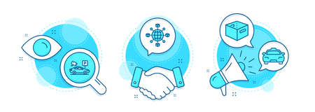 Parking security, Taxi and Office box line icons set. Handshake deal, research and promotion complex icons. Logistics network sign. Video camera, Passengers transport, Delivery box. Vector
