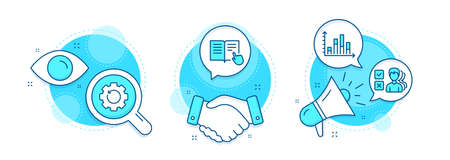 Read instruction, Diagram graph and Recovery gear line icons set. Handshake deal, research and promotion complex icons. Opinion sign. Opened book, Presentation chart, Backup info. Vector