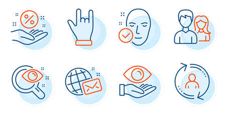 Vision test, Health eye and Teamwork signs. Horns hand, Loan percent and World mail line icons set. Health skin, User info symbols. Gesture palm, Discount hand. People set. Outline icons set. Vector 向量圖像