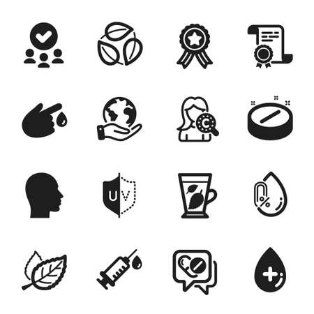 Set of Healthcare icons, such as Oil serum, Medical tablet. Certificate, approved group, save planet. Blood donation, No alcohol, Collagen skin. Head, Leaves, Medical drugs. Vector