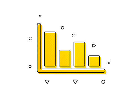 Financial graph sign. Histogram Column chart icon. Stock exchange symbol. Business investment. Yellow circles pattern. Classic histogram icon. Geometric elements. Vector 向量圖像