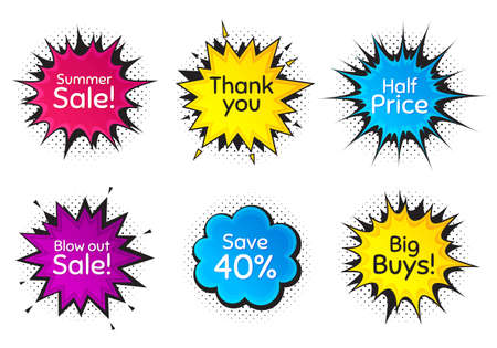 Summer sale, 40% discount and half price. Comic speech bubble. Thank you, hi and yeah phrases. Sale shopping text. Chat messages with phrases. Colorful texting comic speech bubble. Vector