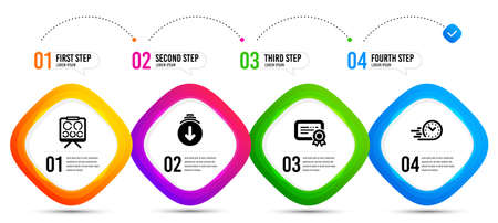 Scroll down, Fast delivery and Vision board icons simple set. Timeline infographic. Certificate sign. Swipe screen, Stopwatch, Eye check. Verified document. Business set. Vector Vettoriali