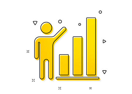 Column chart sign. Graph icon. Growth diagram symbol. Yellow circles pattern. Classic graph chart icon. Geometric elements. Vector