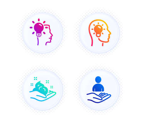 Idea head, Idea and Skin care icons simple set. Button with halftone dots. Recruitment sign. Lightbulb, Professional job, Hand cream. Hr. People set. Gradient flat idea head icon. Vector