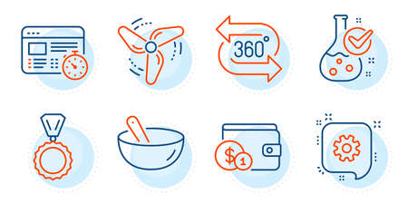 Wind energy, Web timer and Medal signs. 360 degree, Chemistry lab and Cogwheel line icons set. Cooking mix, Buying accessory symbols. Virtual reality, Laboratory flask. Business set. Vector
