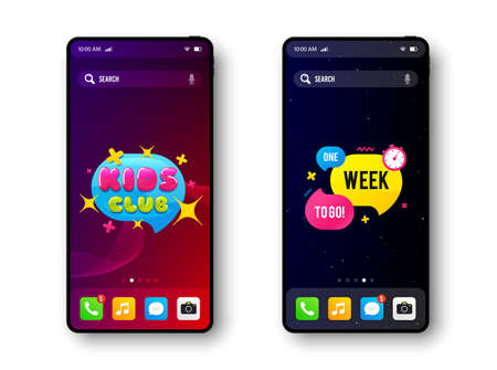 One week to go and Kids club. Smartphone screen banner. Discount offer badge. Mobile phone screen interface. Smartphone display promotion template. Online application banner. Vector