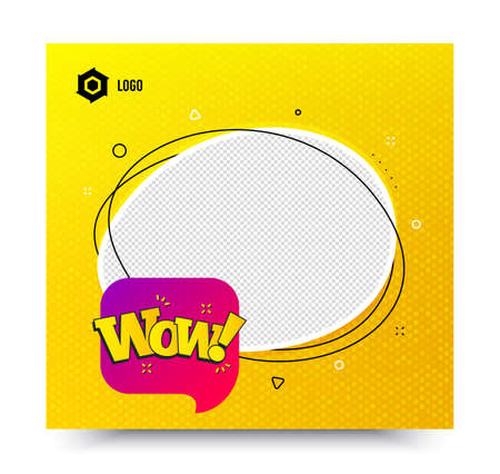 Wow chat bubble badge. Yellow banner template. Discount banner shape. Sale coupon icon. Social media banner with chat bubble. Online shopping web template. Wow bubble promotion bubble. Vector