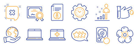 Set of Business icons, such as Blood donation, Time management. Certificate, save planet. Medical help, Stats, Notebook. Recovery hdd, Reject, Natural linen. Technical info, Stars line icons. Vector