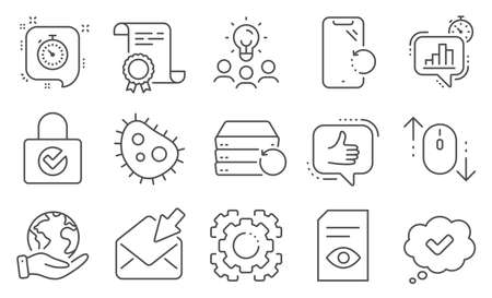 Set of Technology icons, such as View document, Seo gear. Diploma, ideas, save planet. Scroll down, Like, Smartphone recovery. Password encryption, Timer, Recovery server. Vector Vectores