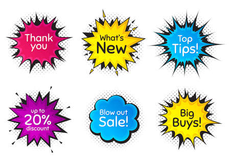 Top tips, 20% discount and whats new. Comic speech bubble. Thank you, hi and yeah phrases. Sale shopping text. Chat messages with phrases. Colorful texting comic speech bubble. Vector