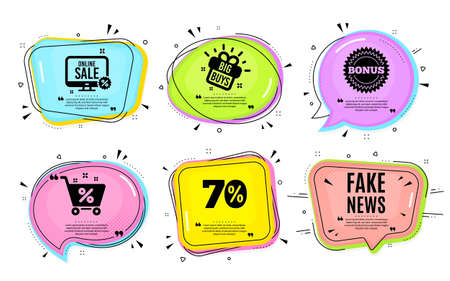 Fake news symbol. Big buys, online shopping. Media newspaper sign. Daily information. Quotation bubble. Banner badge, texting quote boxes. Fake news text. Coupon offer. Vector