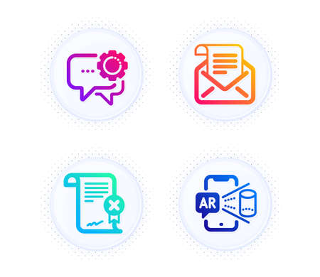 Reject certificate, Employees messenger and Mail newsletter icons simple set. Button with halftone dots. Augmented reality sign. Decline file, Speech bubble, Open e-mail. Phone simulation. Vector Ilustración de vector