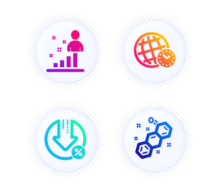 Stats, Loan percent and Time zone icons simple set. Button with halftone dots. Chemical formula sign. Business analysis, Decrease rate, World clock. Chemistry. Technology set. Vector
