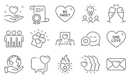 Set of Love icons, such as Heart, Dating. Diploma, ideas, save planet. Heart flame, One love, Friendship. Love mail, Valentine, Champagne glasses. Be sweet, Friends couple line icons. Vector
