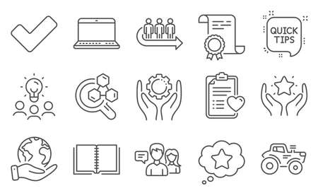 Set of Business icons, such as People talking, Chemistry lab. Diploma, ideas, save planet. Queue, Ranking, Notebook. Tractor, Patient history, Tick. Employee hand, Quick tips, Loyalty star. Vector
