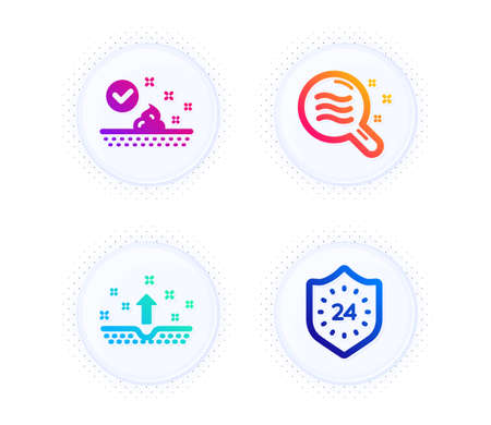 Skin care, Skin condition and 24 hours icons simple set. Button with halftone dots. Face cream, Search magnifier, Cosmetics. Protection. Beauty set. Gradient flat skin care icon. Vector