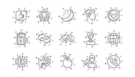 Privacy Policy, Social Responsibility. Check mark, Sharing economy and Mindfulness stress line icons. Linear icon set. Geometric elements. Quality signs set. Vector