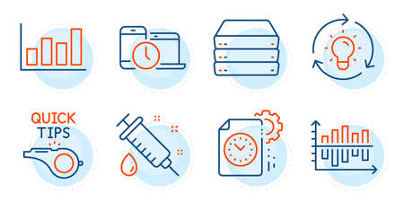Idea, Diagram chart and Medical syringe signs. Tutorials, Time management and Servers line icons set. Project deadline, Report diagram symbols. Quick tips, Laptop device. Science set. Vector