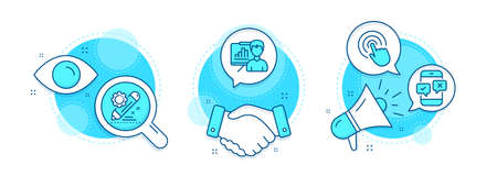 Phone survey, Project edit and Click line icons set. Handshake deal, research and promotion complex icons. Presentation board sign. Mobile quiz test, Settings, Cursor pointer. Growth chart. Vector