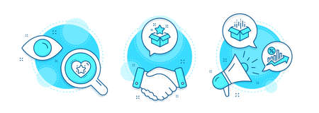 Ranking star, Open box and Loan percent line icons set. Handshake deal, research and promotion complex icons. Loyalty program sign. Love rank, Delivery package, Growth chart. Bonus star. Vector Ilustrace